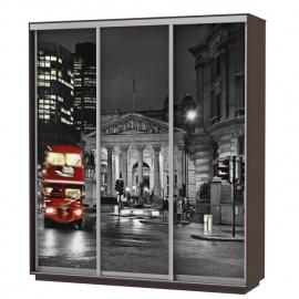 Шкаф-купе Трио-трёхдверный Ночной Лондон 1800 цвет Венге