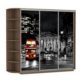Шкаф-купе Трио-трехдверный Лондон Ясень шимо темный