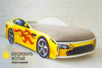 Детская кровать с подъёмным механизмом Бондмобиль жёлтый ( без чехла)
