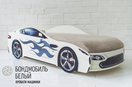 Детская кровать с подъёмным механизмом Бондмобиль белый ( без чехла)