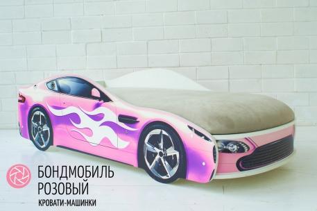 Детская кровать с подъёмным механизмом Бондмобиль розовый ( без чехла)