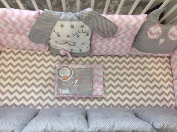 Бортики в кроватку Зайка+Совушка розовый  зиг-заг и серый горох