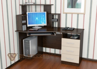 Стол компьютерный № 3 Дуб Венге/Дуб млечный