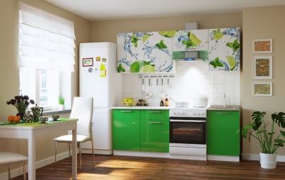 """Кухонный гарнитур """"Лайм + зеленый"""" 2100 мм"""