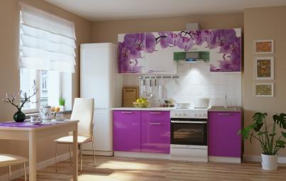 """Кухонный гарнитур """"Орхидея + сиреневый"""" 2100 мм"""