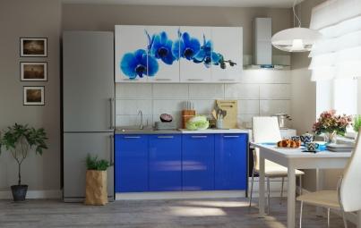 """Кухонный гарнитур """"Синяя орхидея + синий"""" 1600 мм"""