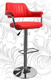 Барный стул 5019 красный с подлокотниками